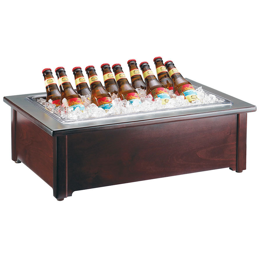 Cal Mil 412-12-52 12 inch x 20 inch Woodland Beverage Housing with Clear Ice Pan - Dark Wood