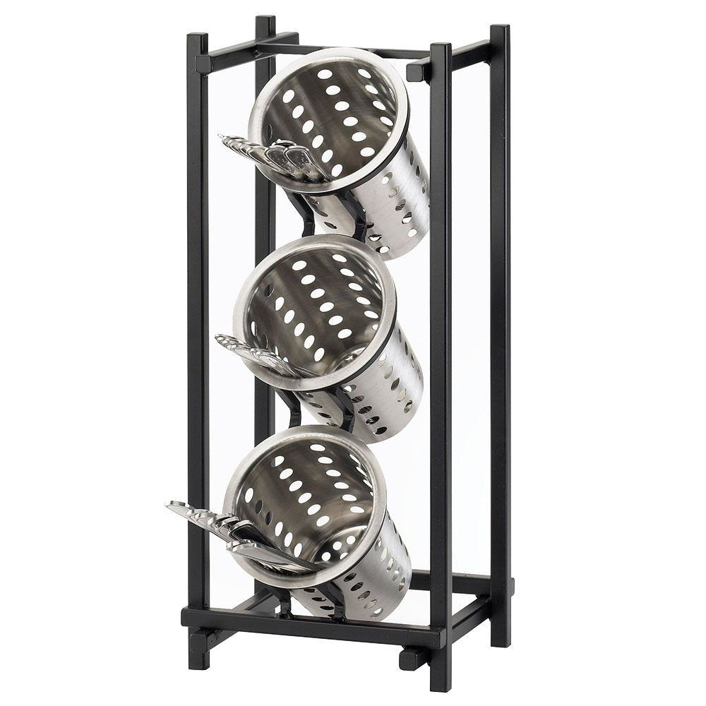 Cal Mil 1134-13 Black One By One 3-Compartment Metal Silverware Holder - 7 1/2 inch x 6 1/2 inch x 17 3/4 inch