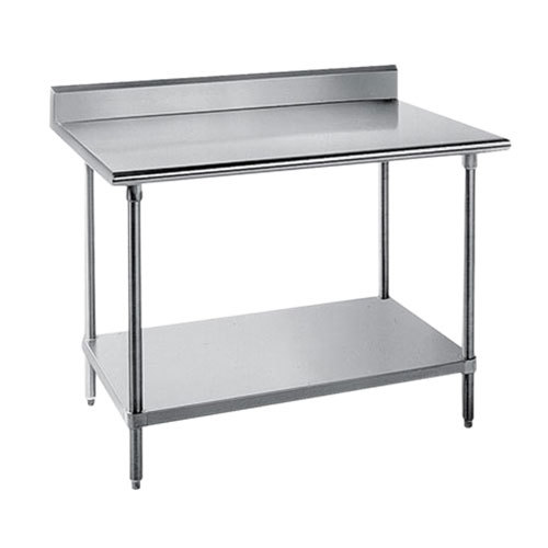 "Advance Tabco SKG-303 30"" x 36"" 16 Gauge Super Saver Stainless Steel Commercial Work Table with Undershelf and 5"" Backsplash"