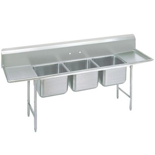 3 Bay Sink : ... Three Compartment Stainless Steel Sink with Two Drainboards - 151