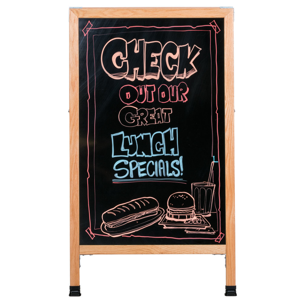 "Aarco 42"" x 24"" Oak A-Frame Sign Board with Black Marker Board"
