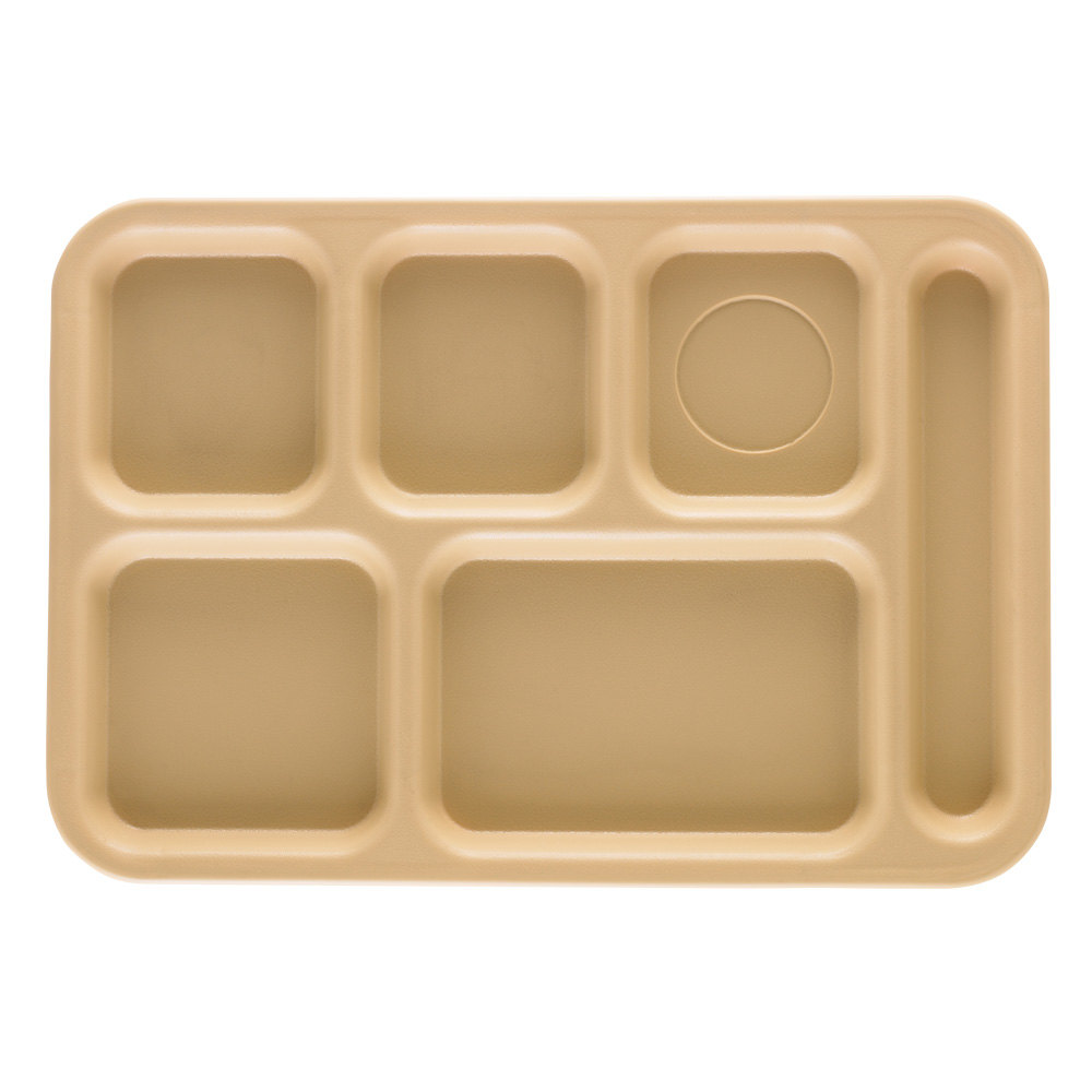 "Cambro PS1014161 Penny-Saver 10"" x 14 1/2"" Beige 6 Compartment Serving Tray - 24/Case"