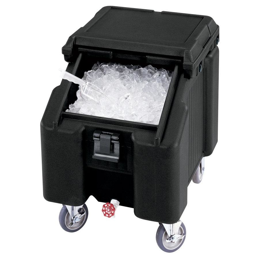Cambro ICS100L110 Black Sliding Lid Portable Ice Bin - 100 lb. Capacity