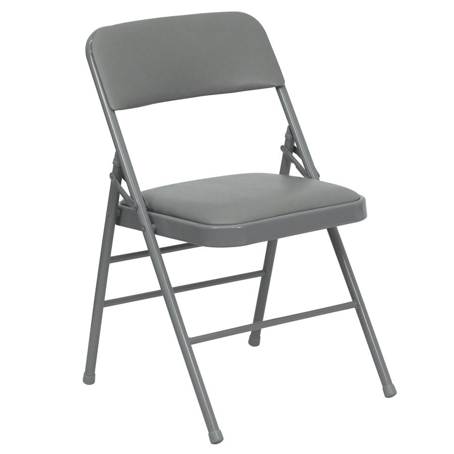 "Gray Metal Folding Chair with 1"" Padded Vinyl Seat"