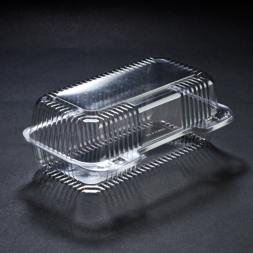 "Dart Solo PET35UT1 StayLock 9"" x 5 3/8"" x 3 1/2"" Clear Hinged PET Plastic 9"" Medium Oblong Container - 250/Case"