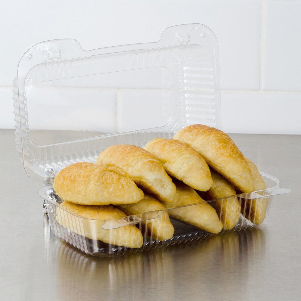 "Dart PET35UT1 StayLock 9"" x 5 3/8"" x 3 1/2"" Clear Hinged PET Plastic 9"" Medium Oblong Container - 250/Case"