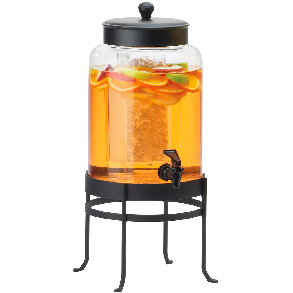 "Cal-Mil 1580-3-13 3 Gallon Black Soho Glass Beverage Dispenser with Ice Chamber - 10"" x 12"" x 24 1/2"""