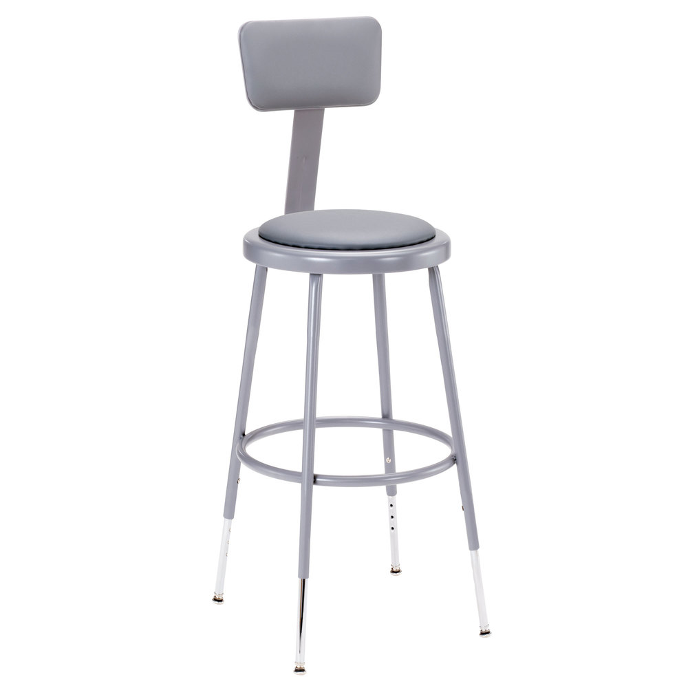 "National Public Seating 6424HB 25"" - 33"" Gray Adjustable Round Padded Lab Stool with Adjustable Padded Backrest"