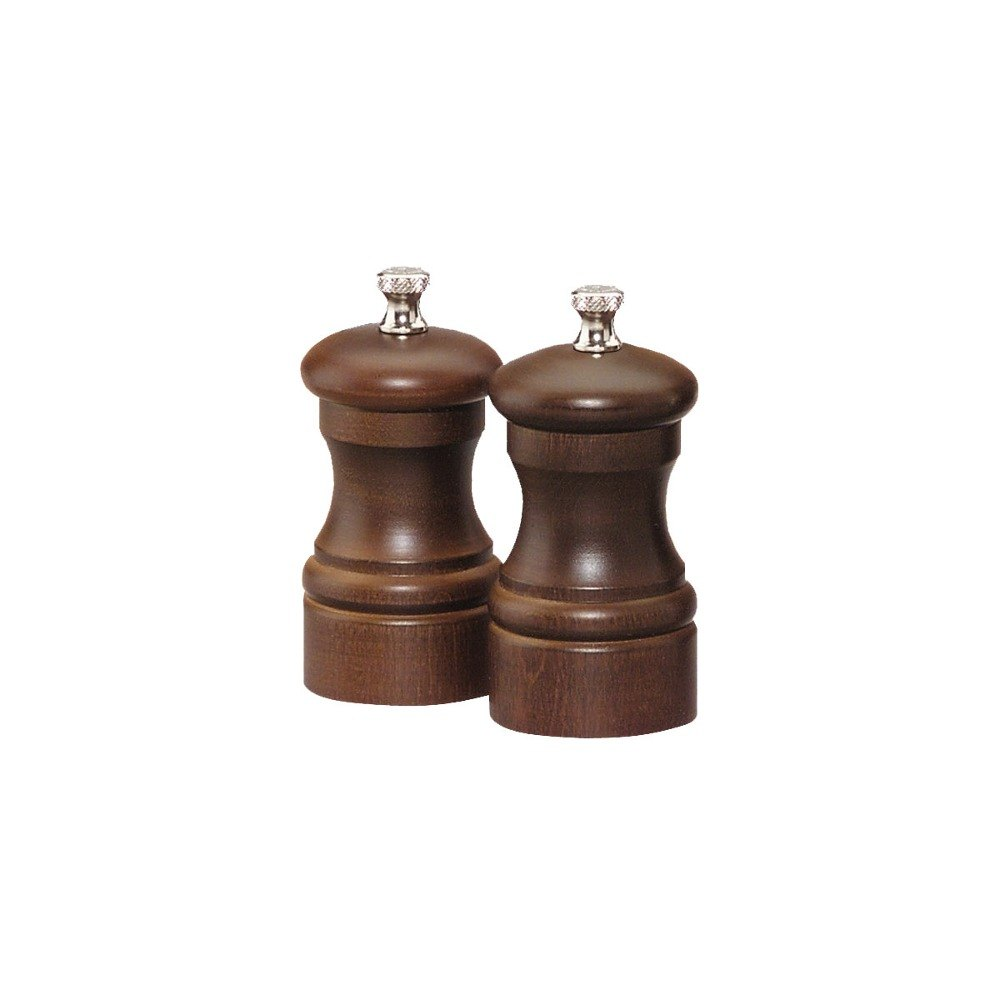 "Chef Specialties 04102 Professional Series 4"" Customizable Capstan Walnut Pepper Mill and Salt Mill Set"