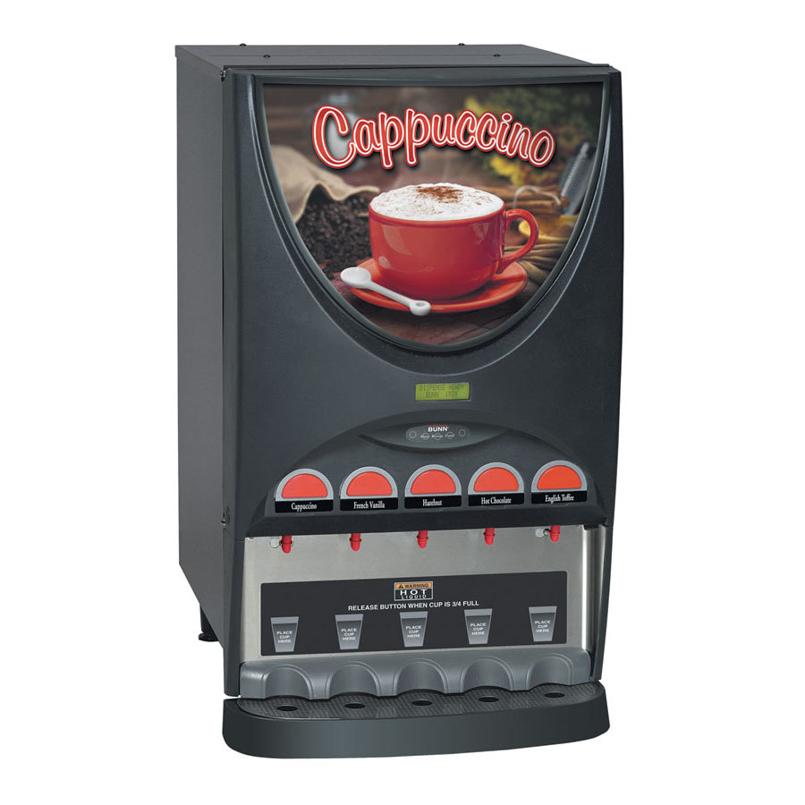 Bunn iMIX-5 BLK Powdered Cappuccino Dispenser with 5 Hoppers - 120V (37000.0020)