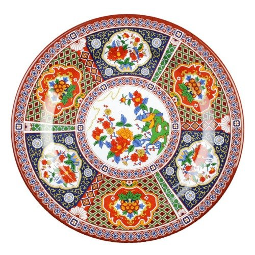 "Peacock 7 7/8"" Round Melamine Plate - 12/Pack"
