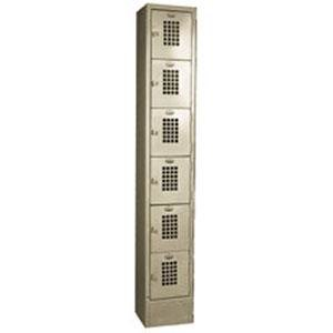 "Winholt WL-66/18 Single Column Six Door Locker with Perforated Doors - 12"" x 18"""