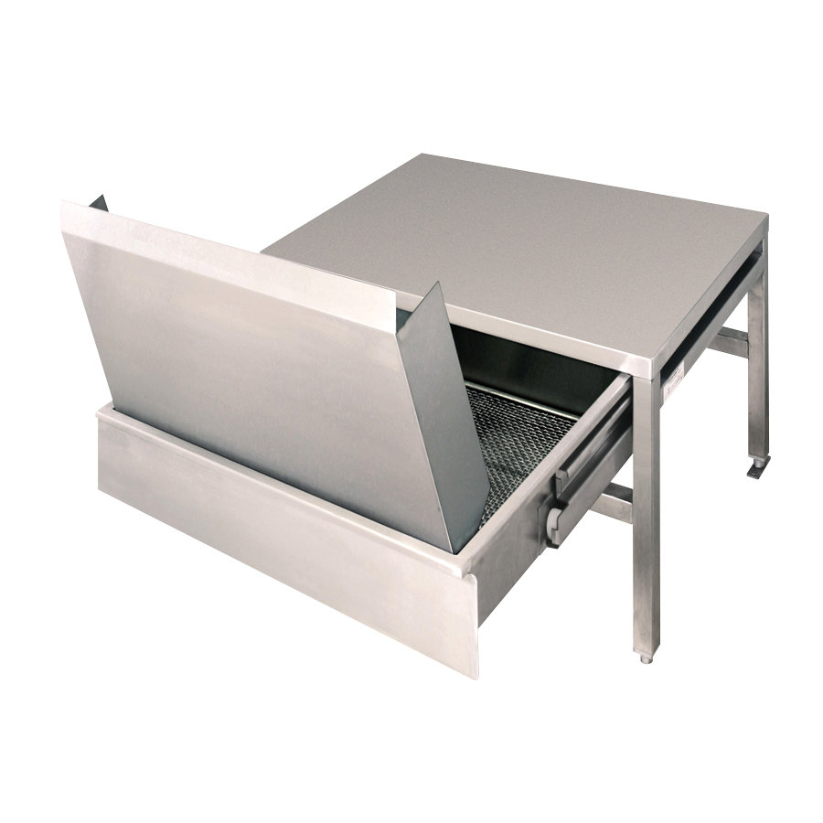 "Cleveland ST55 55"" x 21"" Stainless Steel Equipment Stand with Two Removable Drain Drawers and Splash Shields"