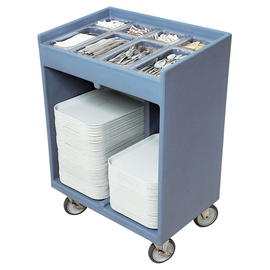 Cambro TC1418401 Slate Blue Tray and Silverware Cart with Protective Vinyl Cover