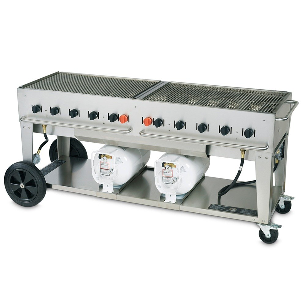 Crown Verity CCB-72 Outdoor Club Grill with 2 Horizontal Propane Tanks - 72 inch