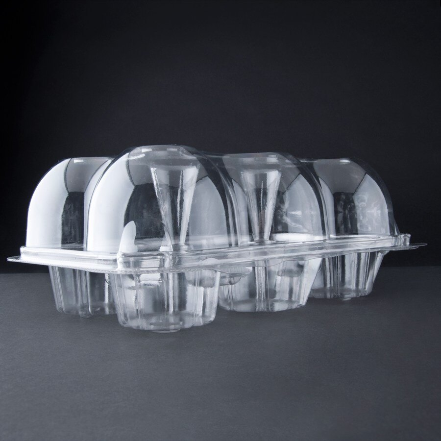 6 Compartment Hinged High Dome Clear Cupcake Container - 150 / Case