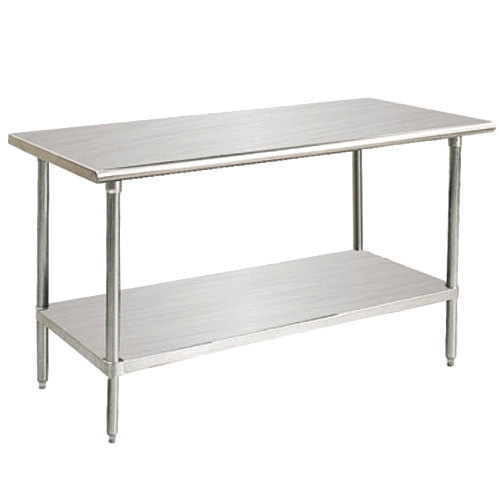"Advance Tabco Premium Series SS-485 48"" x 60"" 14 Gauge Stainless Steel Commercial Work Table with Undershelf"