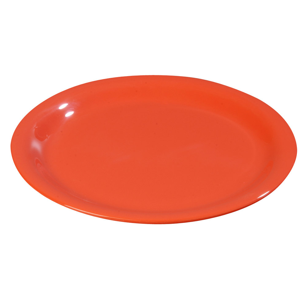 "Carlisle 3301052 10 1/2"" Sunset Orange Sierrus Wide Rim Dinner Plate - 12 / Case"