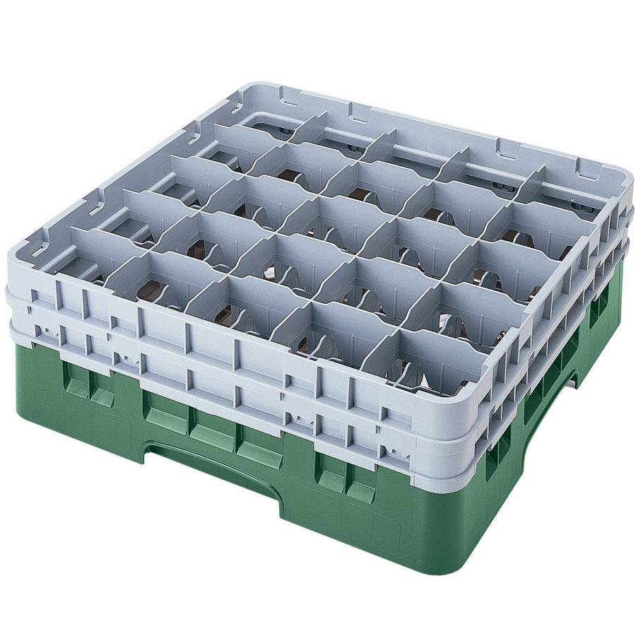 "Cambro 25S1058119 Camrack 11"" High Customizable Sherwood Green 25 Compartment Glass Rack"