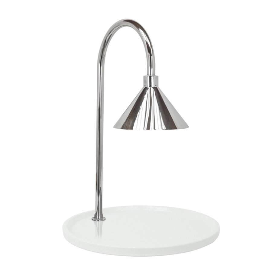 "Buffet Enhancements 010HCLW-WG30RDSS 30"" Round Carving Station with White Granite Base and Stainless Steel Lamp"