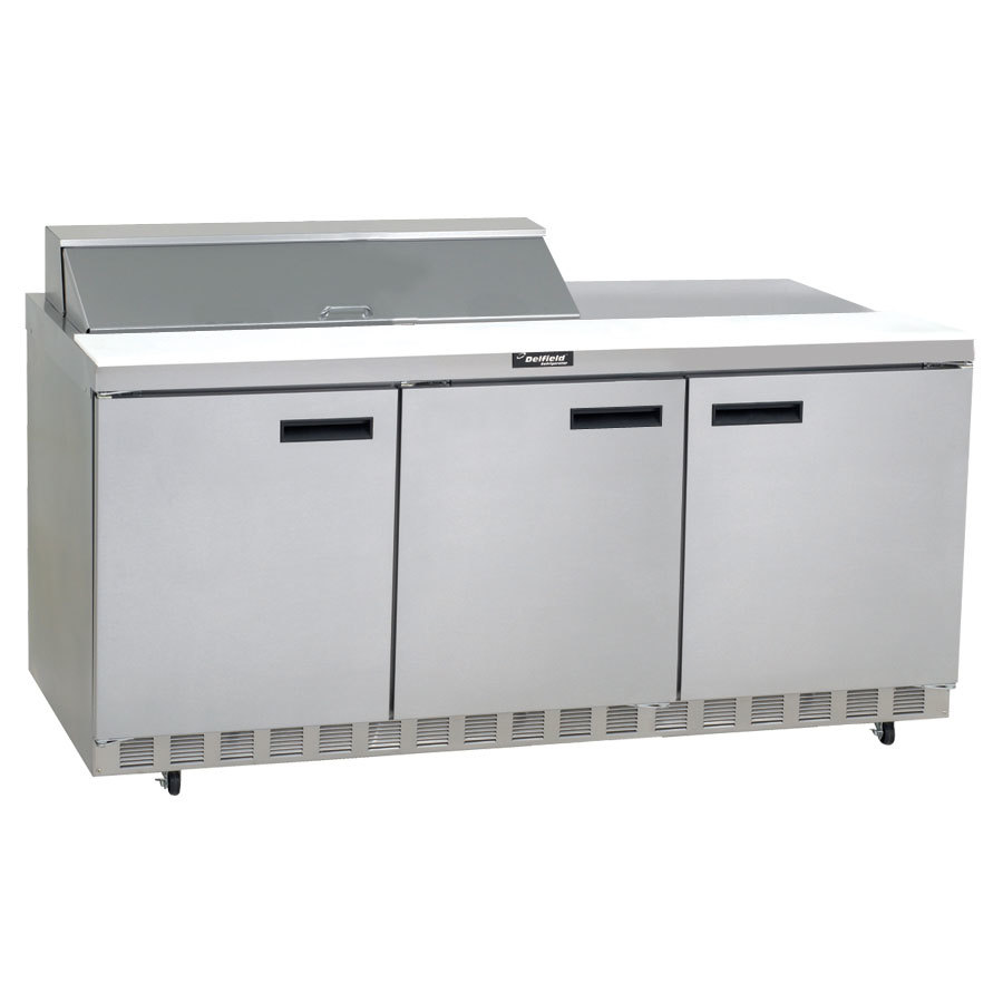"Delfield 4472N-18M 72"" 3 Door Mega Top Refrigerated Sandwich Prep Table"