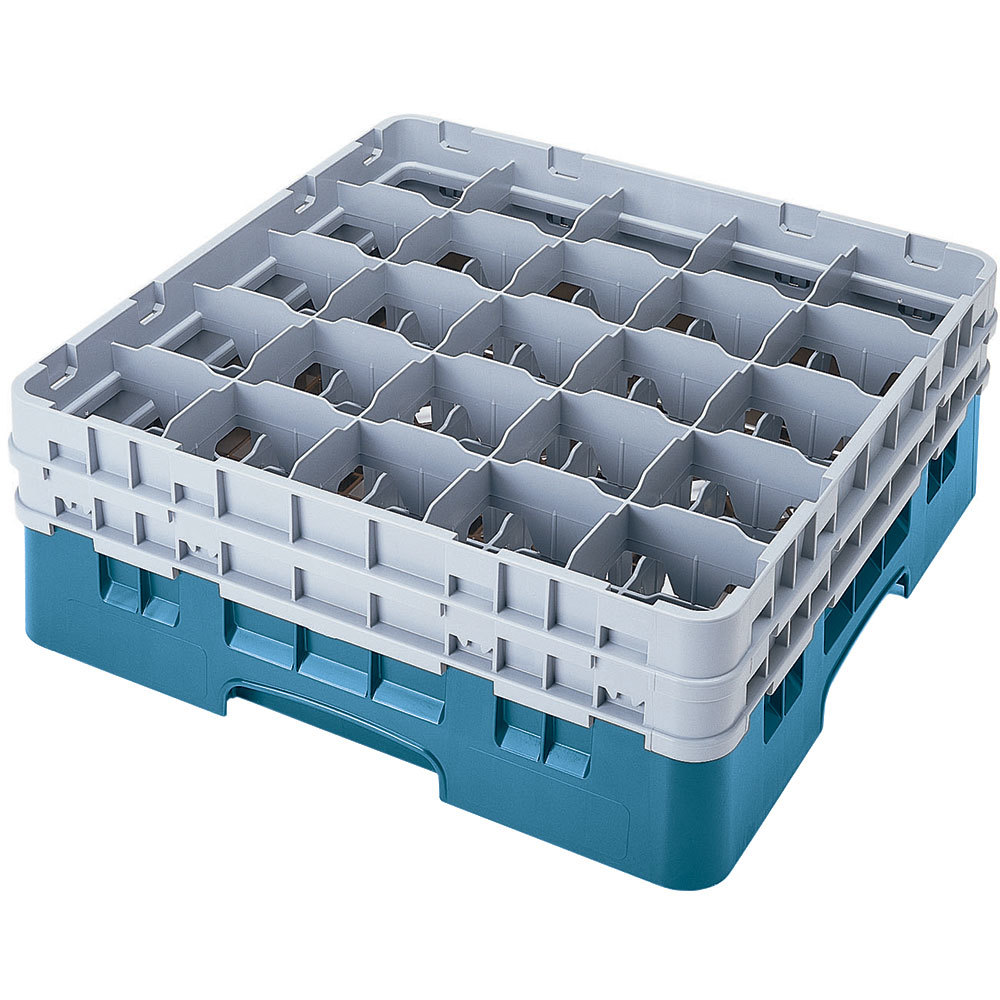 "Cambro 25S318414 Camrack 3 5/8"" High Teal 25 Compartment Glass Rack"