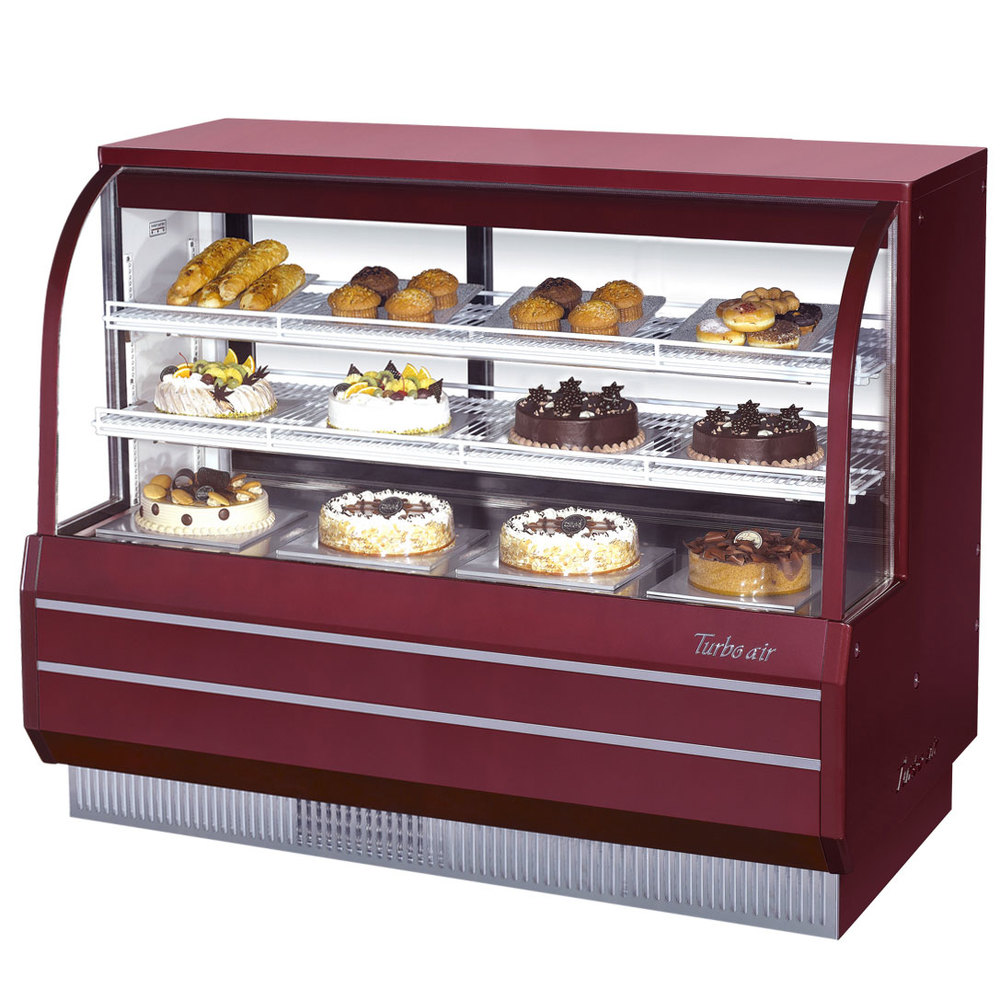 "Turbo Air TCGB-60-DR Red 60 1/2"" Curved Glass Dry Bakery Display Case - 18.7 Cu. Ft."
