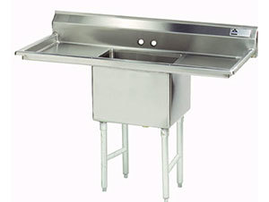 """Advance Tabco FS-1-3024-24RL Spec Line Fabricated One Compartment Pot Sink with Two Drainboards - 78"""" at Sears.com"""