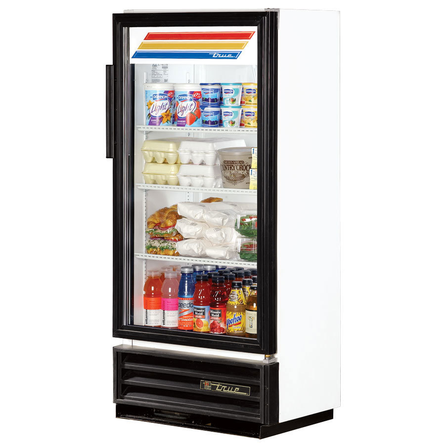 True GDM-10SSL White Slim Line Swing Door Refrigerated Glass Door Merchandiser - 6.7 Cu. Ft.