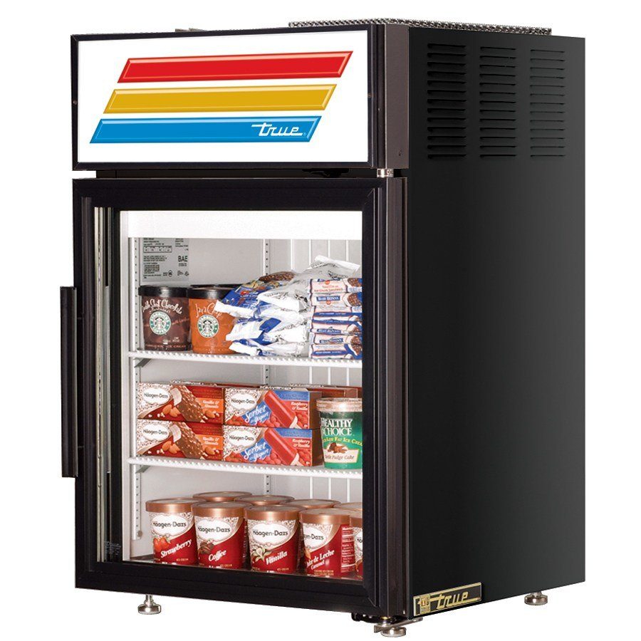 True GDM-5F Black Countertop Glass Door Merchandiser Freezer - 5 Cu. Ft.