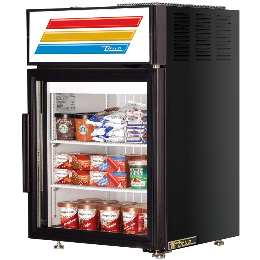 True GDM-5F-LD Black Countertop Display Freezer with Swing Door - 5 cu ...