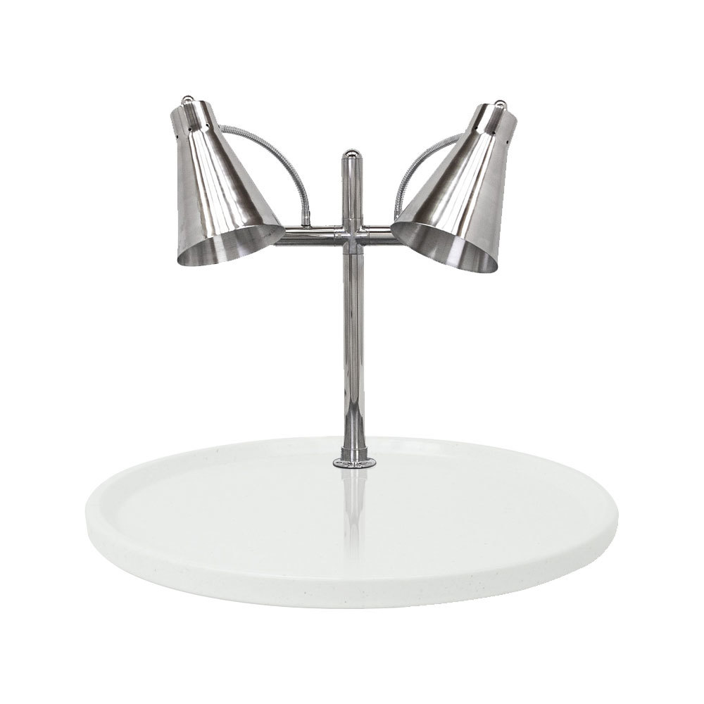 "Buffet Enhancements 010HFD-WG30RD 30"" Carving Station with Round White Granite Base and Two Flex Lamps"