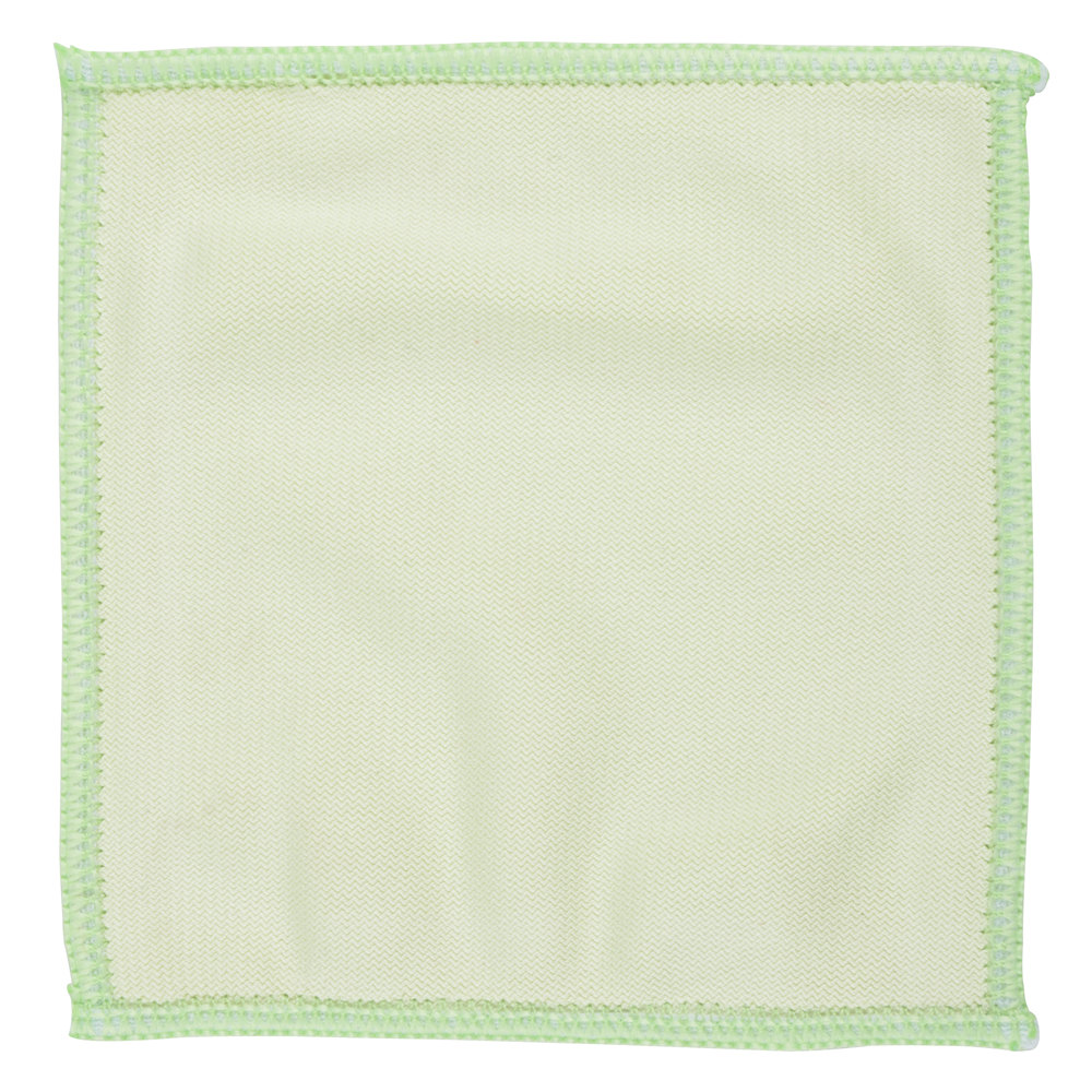"Unger MF10L MicroWipe Mini 4"" x 4"" Green Microfiber Glass Cleaning Cloth - 10/Pack"
