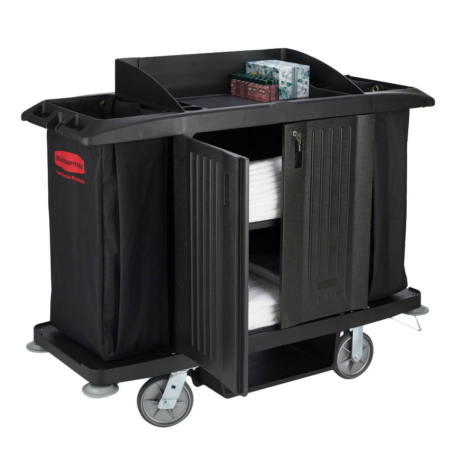 Rubbermaid FG619100BLA Full Size Housekeeping Cart with Doors