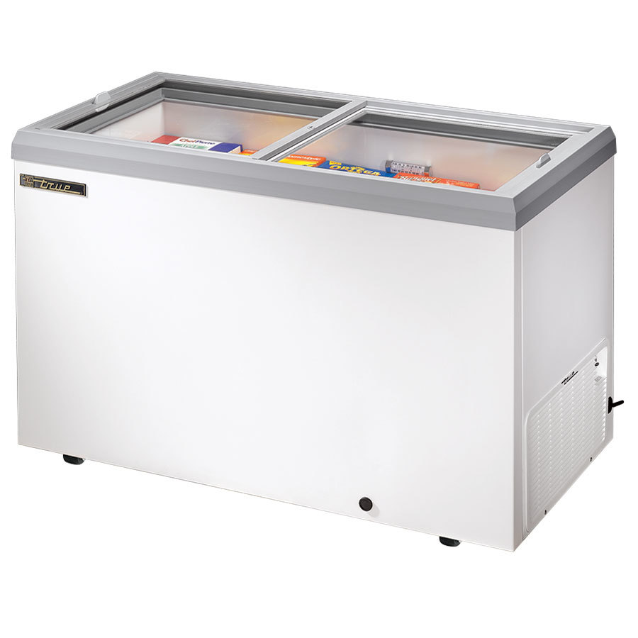 True TFM-51FL White Flat Glass Lid Horizontal Freezer - 13.3 Cu. Ft.