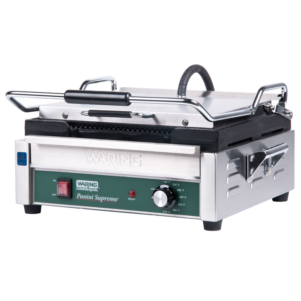 "Waring WPG250 14 1/2"" x 11"" Panini Supremo Grooved Top & Bottom Panini Sandwich Grill 120V"