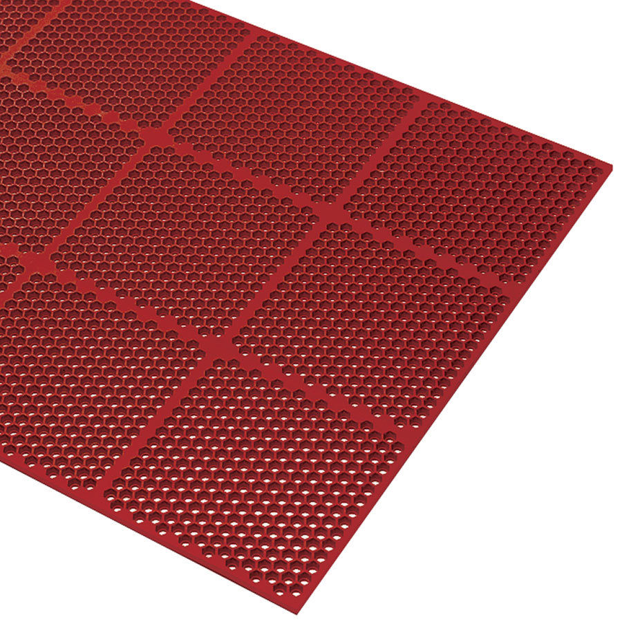 Rubber floor mats for wet areas - Cactus Mat 2535 R36 Honeycomb 3 X 6 Red Grease Resistant Anti