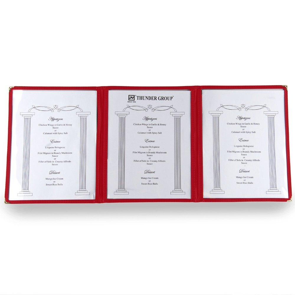 8 1/2 inch x 11 inch Three Pocket Fold Over Menu Cover - Red