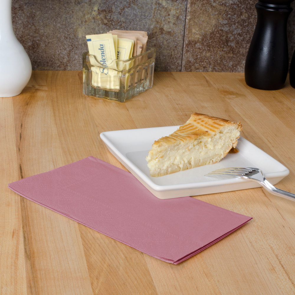 "Hoffmaster 180525 Dusty Rose Pink 15"" x 17"" Paper Dinner Napkins 2-Ply - 125/Pack"