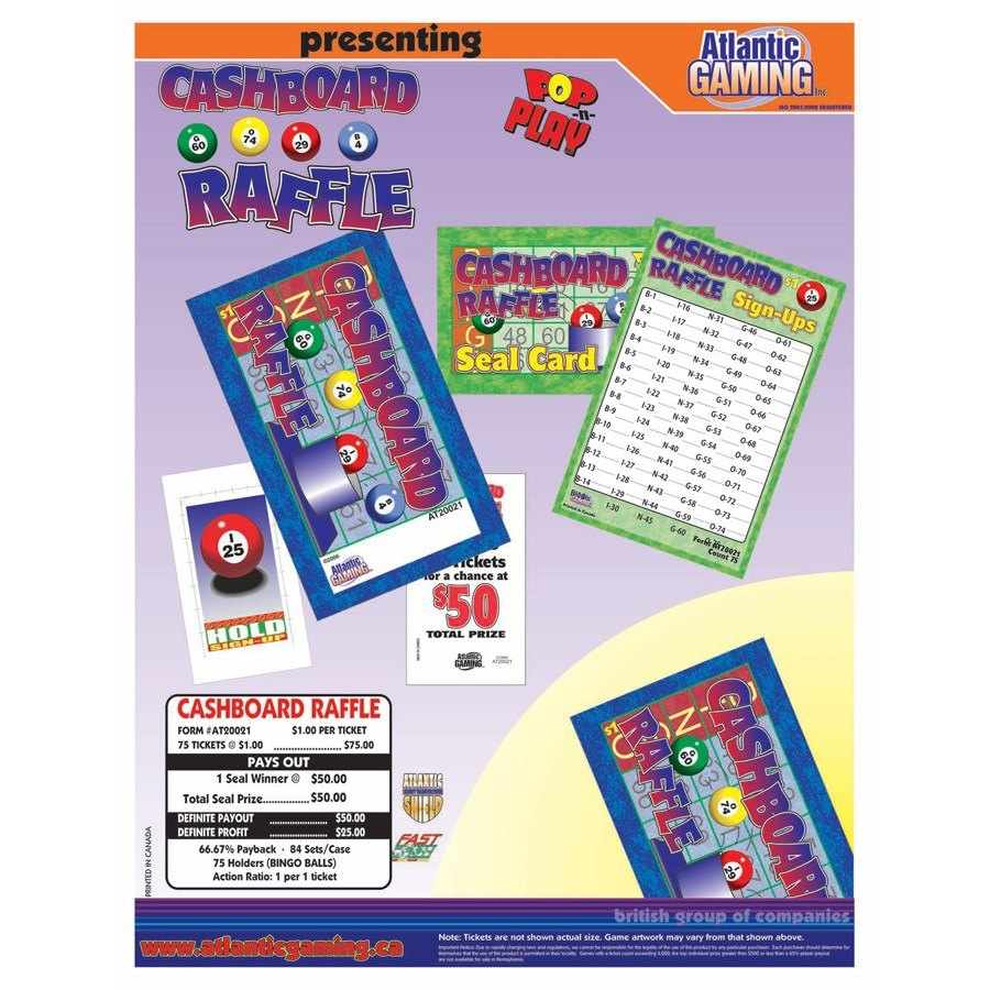 """""""Cashboard Raffle"""" 1 Window Pull Tab Tickets - 75 Tickets Per Deal - Total Payout: $50 at Sears.com"""
