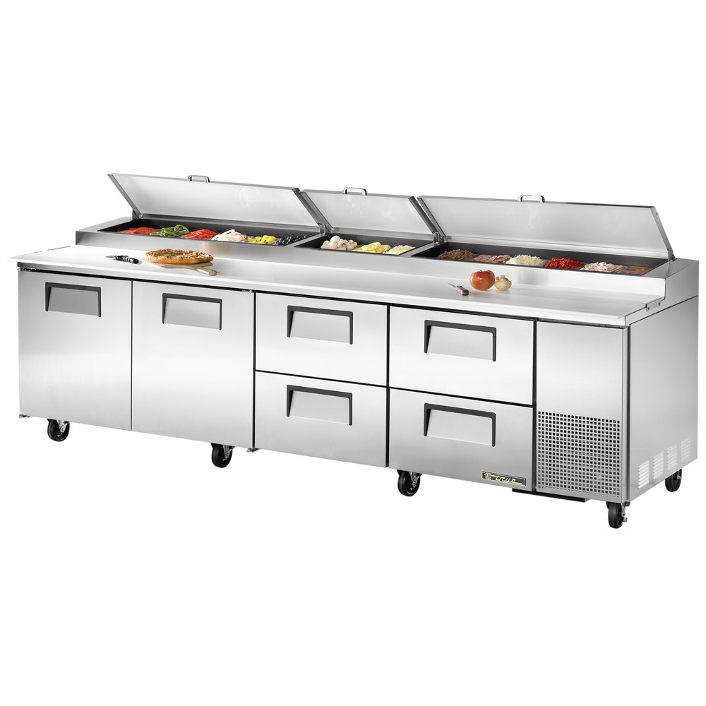 "True TPP-119D-4 119"" Refrigerated Pizza Prep Table with Two Doors and Four Drawers"