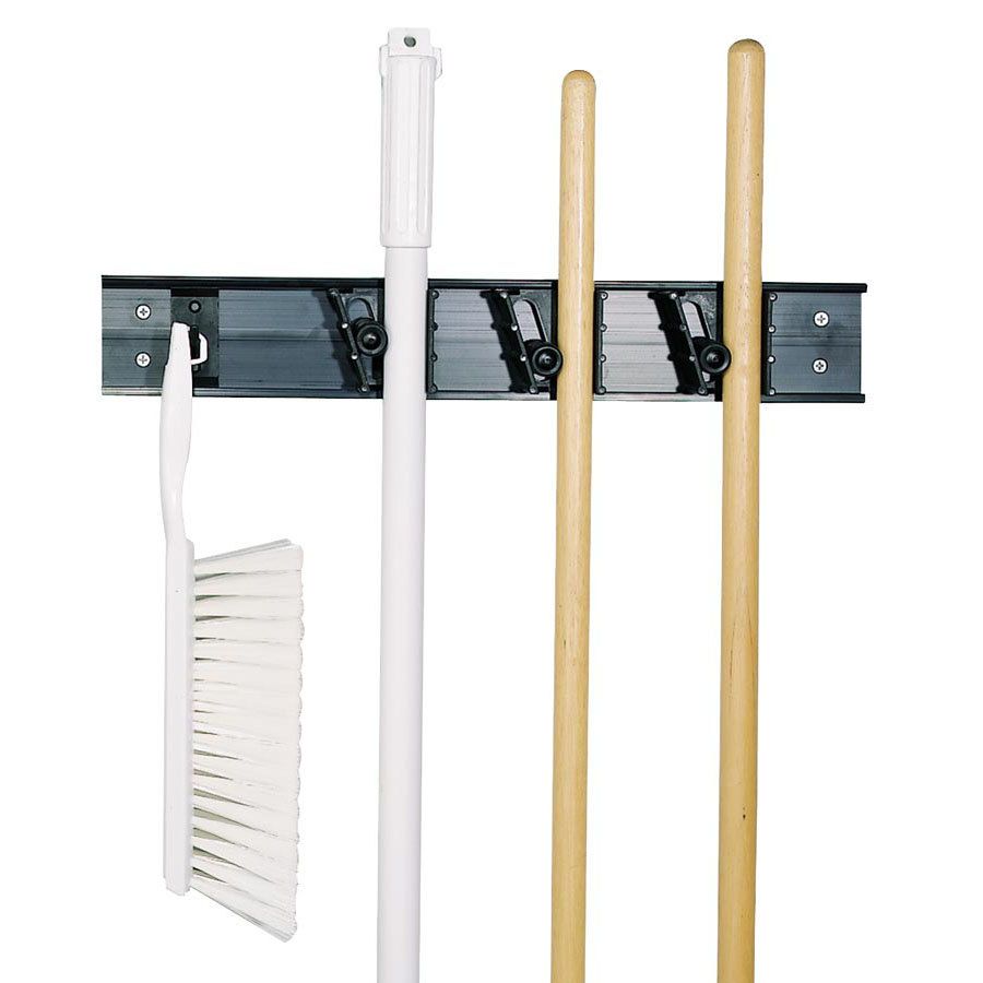 Carlisle 40731 18 inch Adjustable Brush, Broom & Mop Closet Rack / Hanger