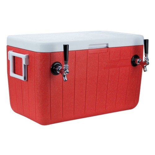 "Micro Matic HDCP-D2-48R Red 2 Faucet 48 Qt. Insulated Jockey Box with 10"" x 15"" Cold Plate"