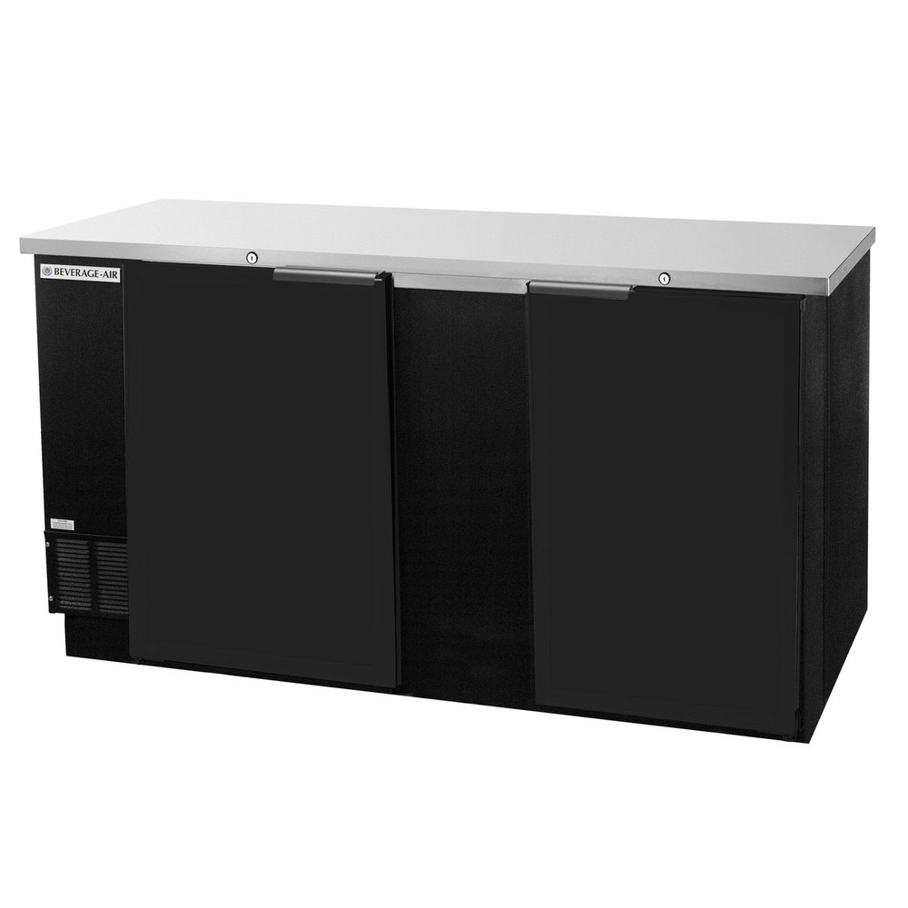 "Beverage Air BB68-1-B 69"" Back Bar Refrigerator with 2 Solid Doors 115V"