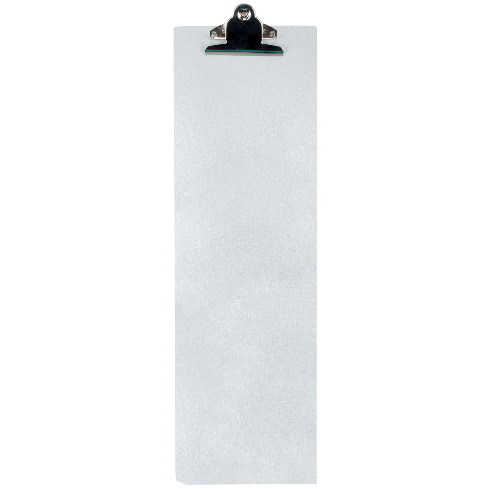 "4 1/4"" x 14"" Menu Solutions ALSIN44-CLIP Single Panel Aluminum Clipboard Menu Board with Brushed Finish"