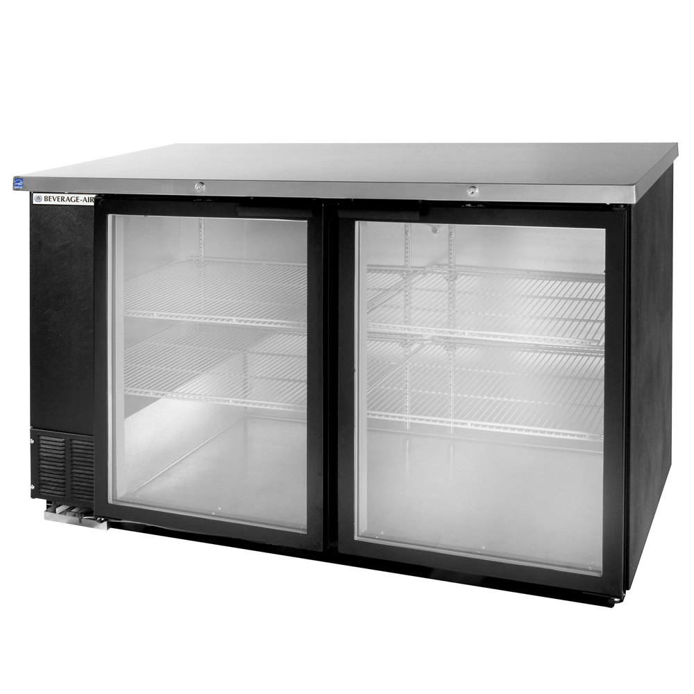 "Beverage Air BB58G-1-B-LED 59"" Back Bar Refrigerator with 2 Glass Doors 115V"