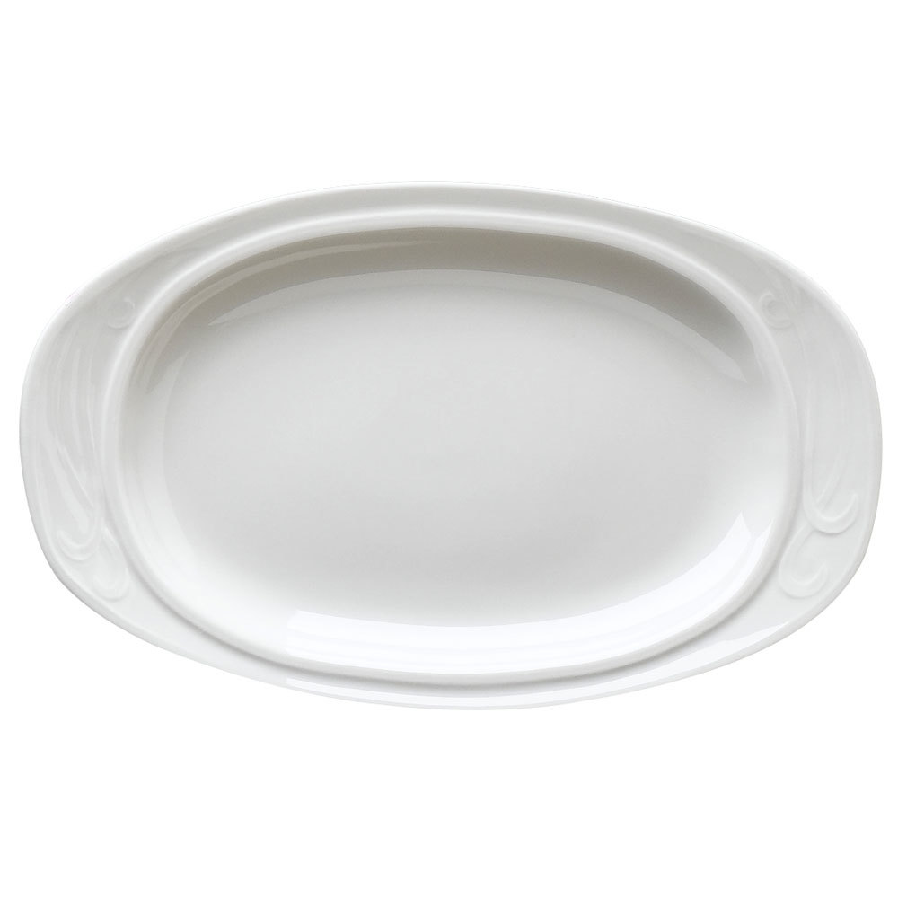 "Homer Laughlin 6161000 Lyrica 13 3/8"" Ivory (American White) Oval China Platter - 12/Case"