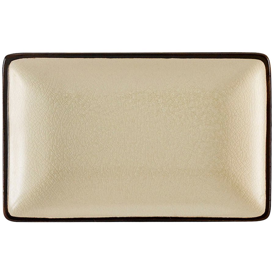 "CAC 666-33-W Japanese Style 5"" x 3 1/2"" Rectangular China Plate - Black Non-Glare Glaze / Creamy White - 36/Case"