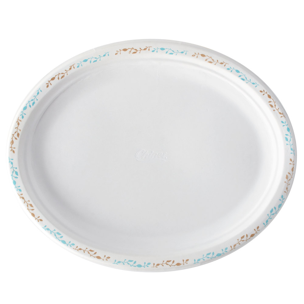 "Huhtamaki Chinet 22525 10"" x 12"" Molded Fiber Oval Platter with Vines Design - 500/Case"
