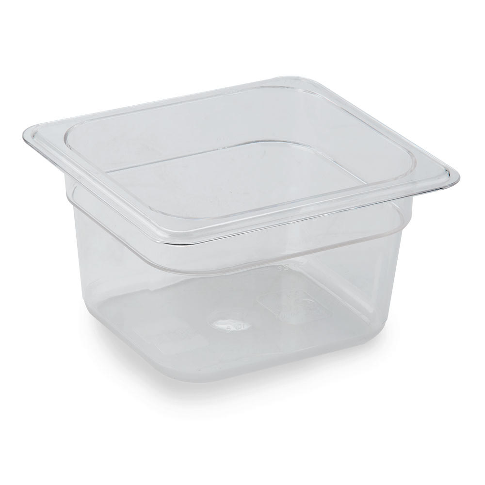 1/6 Size Clear Polycarbonate Food Pan - 4 inch Deep